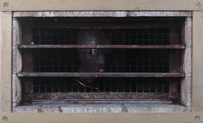 Dan  Witz -  <strong>Gimp, LA Skid Row Grate</strong> (2010<strong style = 'color:#635a27'></strong>)<bR /> digital and mixed media on sintra  hand painted multiple (HPM) edition of 8,   21.5 x 34 inches, framed  (54.61 x 86.36 cm)