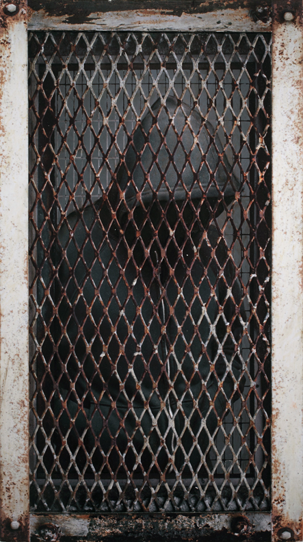 Dan  Witz -  <strong>Hoody, Greenpoint Grate</strong> (2010<strong style = 'color:#635a27'></strong>)<bR /> digital and mixed media on sintra  hand painted multiple (HPM) edition of 6,   36.5 x 21 inches, framed  (92.71 x 53.34 cm)