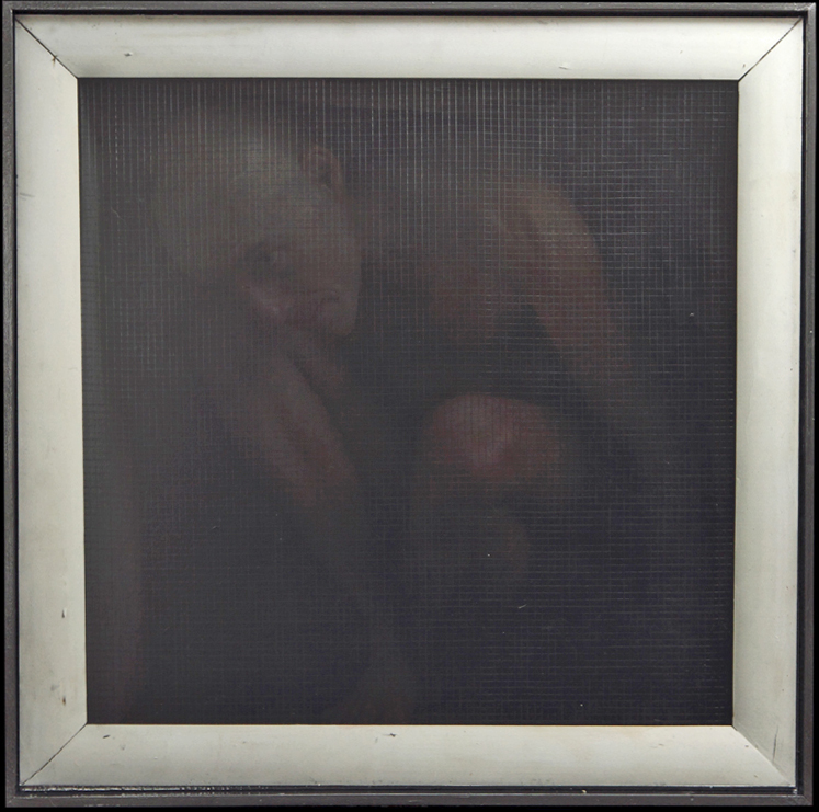 Dan  Witz -  <strong>John, Crouching (2)</strong> (2010<strong style = 'color:#635a27'></strong>)<bR /> digital and mixed media on sintra  hand painted multiple (HPM) edition of 6,   27.5 x 27.5 inches, framed  (69.85 x 69.85 cm)