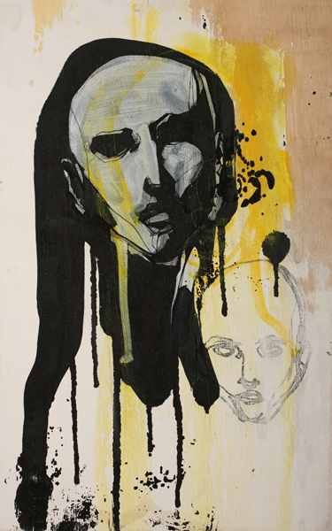Hamilton  Yokota (Titi Freak) -  <strong>Wood</strong> (2008<strong style = 'color:#635a27'></strong>)<bR /> Spray Paint and Pencil on Wood,   18 x 11 1/2 inches