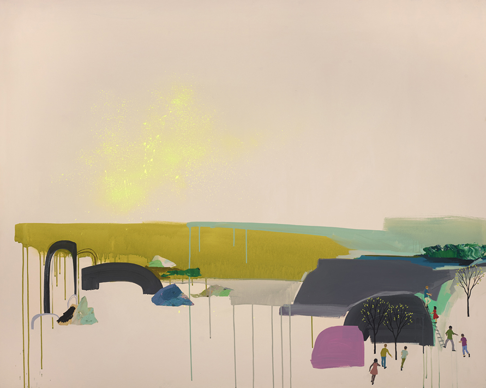 Seonna  Hong -  <strong>World Without End</strong> (2015<strong style = 'color:#635a27'></strong>)<bR /> acrylic on canvas,   48 x 60 inches  (121.92 x 152.4 cm)