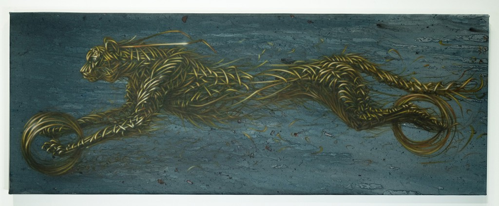 DALeast  &nbsp -  <strong>XIV</strong> (2014<strong style = 'color:#635a27'></strong>)<bR /> acrylic on canvas,   18 x 47.75 inches  (45.72 x 121.29 cm)