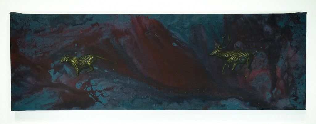 DALeast  &nbsp -  <strong>XV</strong> (2014<strong style = 'color:#635a27'></strong>)<bR /> acrylic on canvas,   15.63 x 47 inches  (39.69 x 119.38 cm)