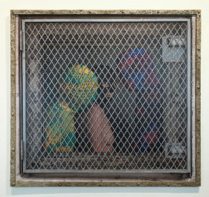 Dan Witz and Olek (Collaboration)    -  <strong>Yarn Slaves</strong> (2014<strong style = 'color:#635a27'></strong>)<bR /> oil and digital media on sintra,   34 x 36.5 inches  (86.36 x 92.71 cm),   edition 2 of 6