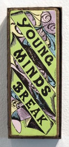Faile    -  <strong>Young Minds</strong> (2014<strong style = 'color:#635a27'></strong>)<bR /> acrylic and silkscreen ink on wood, steel frame,   10 x 4 x 3 inches  (25.40 x 10.16 x 7.62 cm)