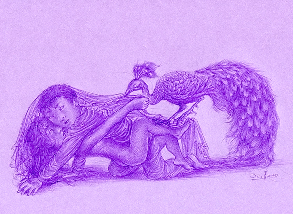 """Xiaoqing  Ding -  <strong>Your Veil</strong> (2007<strong style = 'color:#635a27'></strong>)<bR /> Ballpoint Pen on Paper,   Image size: 9 x 11 inches,   <span style=""""font-family: Helvetica;"""">Framed size: 13 1/2 x 16 inches</span>"""