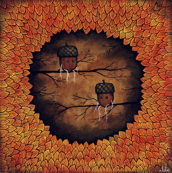 Andy  Kehoe -  <strong>Youth Awaits Its Day</strong> (2009<strong style = 'color:#635a27'></strong>)<bR /> acrylic and oil on panel,   8 x 8 inches