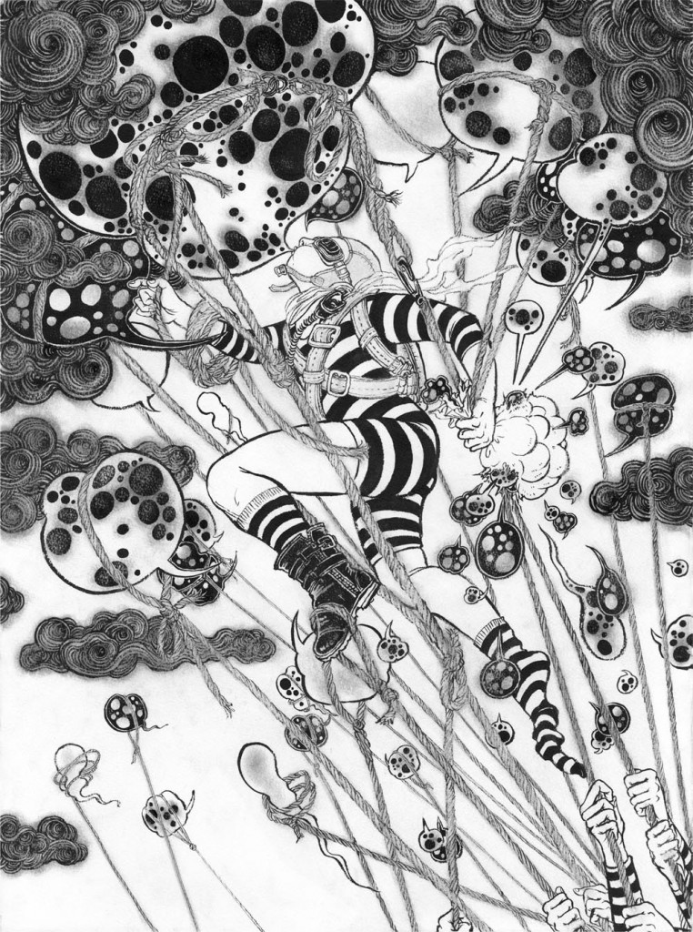 Yuko  Shimizu -  <strong>Blow Up 1</strong> (2010<strong style = 'color:#635a27'></strong>)<bR /> ink on watercolor paper,   30 x 22 inches (76.2 x 55.88 cm)  33 x 25 inches, framed