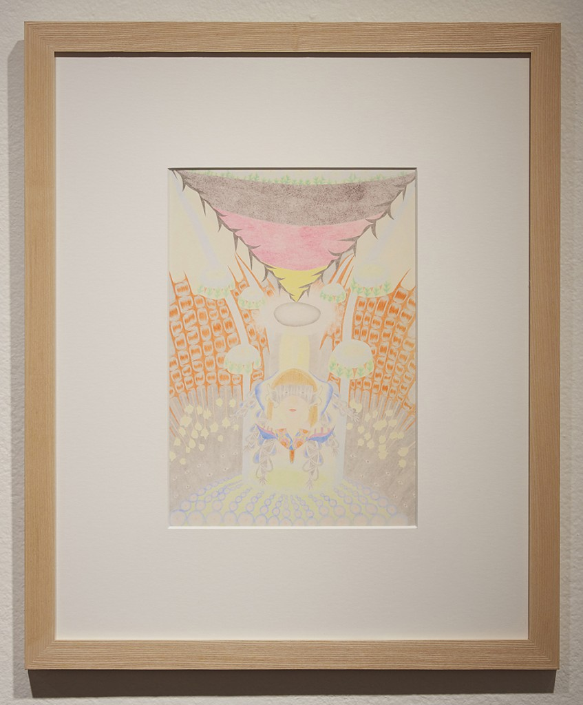 Yuko  Soi -  <strong>Future Diary</strong> (2013<strong style = 'color:#635a27'></strong>)<bR /> colored pencil on paper,   11.38 x 7.88 inches  (28.91 x 20 cm)  20.75 x 17.25 inches, framed