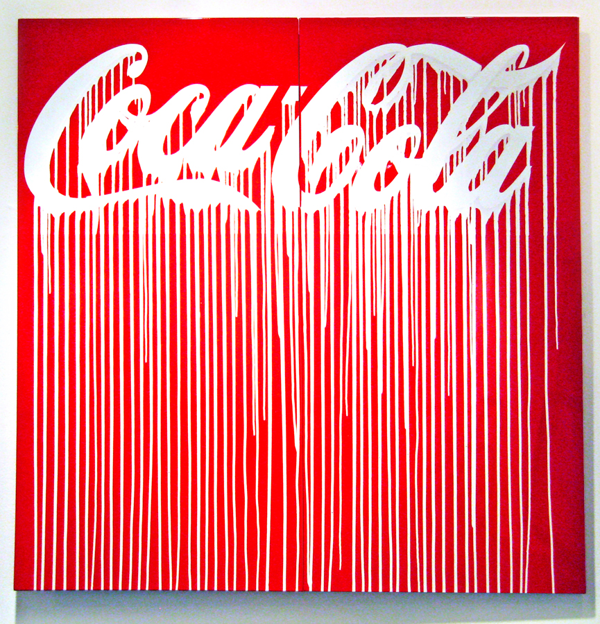 Zevs    -  <strong>Liquidated Coca-Cola</strong> (2010<strong style = 'color:#635a27'></strong>)<bR /> liquitex on metal,   50 x 50 inches  (127 x 127 cm)