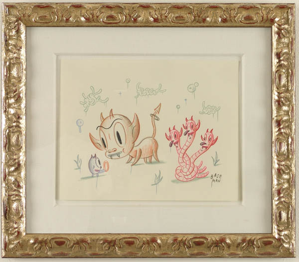 Gary  Baseman -  <strong>A Hot Ring</strong> (2005<strong style = 'color:#635a27'></strong>)<bR /> Mixed media on paper,   9 x 11 inches