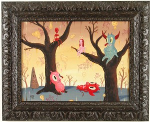 Gary  Baseman -  <strong>A Moment Ago</strong> (2005<strong style = 'color:#635a27'></strong>)<bR /> 18 x 24 inches,   Acrylic on Wood Panel