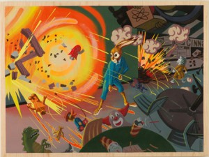 Andrew  Brandou -  <strong>Bomb the Food Court</strong> (<strong style = 'color:#635a27'></strong>)<bR /> Acrylic and Gouache on Maple Panel