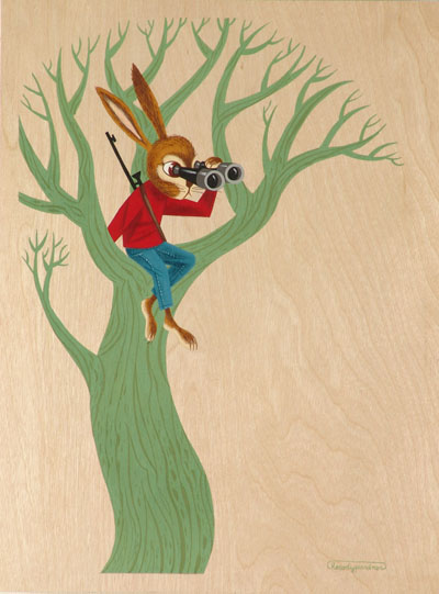 Andrew  Brandou -  <strong>Sniper</strong> (<strong style = 'color:#635a27'></strong>)<bR /> Gouache on Maple