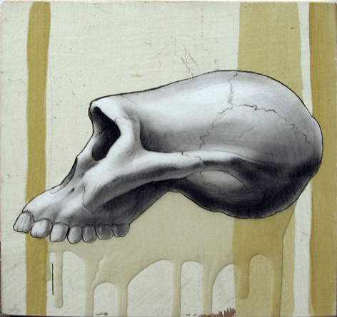 Jeff  Soto -  <strong>Afarensis Skull</strong> (2003<strong style = 'color:#635a27'></strong>)<bR /> Acrylic and graphite on Wood  8 x 8 inches
