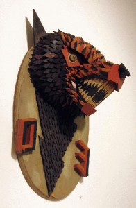 AJ  Fosik -  <strong>OE (SIDE VIEW)</strong> (<strong style = 'color:#635a27'></strong>)<bR /> Mixed Media,   39 x 19 1/2 x 6 inches