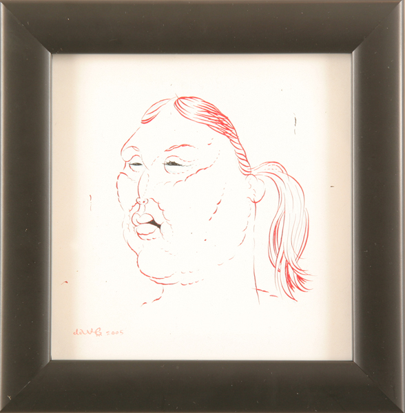 Dave  Cooper -  <strong>Study for Anna</strong> (2005<strong style = 'color:#635a27'></strong>)<bR /> Pen and Ink on Paper ,   5 x 5 inches