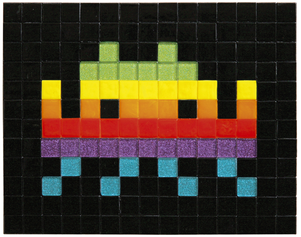 Invader  &nbsp -  <strong>Small Apple Space (6)</strong> (2009<strong style = 'color:#635a27'></strong>)<bR /> ceramic tiles on board,   9 1/2 x 11 3/4 inches [24 x 30 cm]
