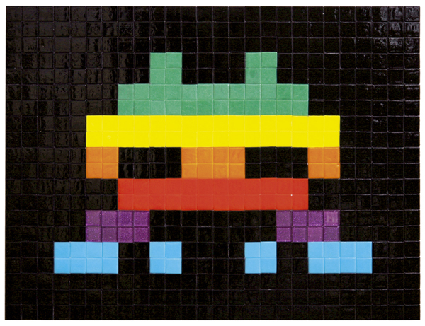 Invader  &nbsp -  <strong>Apple Space (4)</strong> (2009<strong style = 'color:#635a27'></strong>)<bR /> ceramic tiles on board,   15 3/4 x 20 3/8 inches [40 x 51.6 cm]