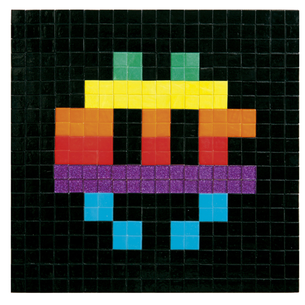 Invader  &nbsp -  <strong>Apple Space (1)</strong> (2009<strong style = 'color:#635a27'></strong>)<bR /> ceramic tiles on board,   15 3/4 x 15 3/4 inches [40 x 40 cm]