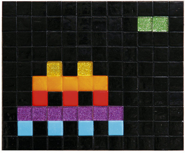 Invader  &nbsp -  <strong>Small Apple Space (2)</strong> (2009<strong style = 'color:#635a27'></strong>)<bR /> ceramic tiles on board,   7 3/8 x 7 7/8 inches [18.8 x 20 cm]