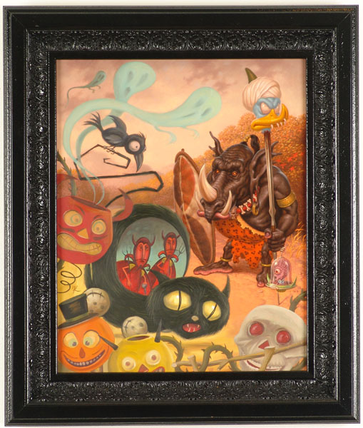 "Todd Schorr and  Kathy Staico Schorr -  <strong>Autumn Sojourn</strong> (2005<strong style = 'color:#635a27'></strong>)<bR /> Oil and Acrylic on Canvas  Image size: 20"" x 16""  Framed size: 26"" x 22""  -Contact Gallery for Availability-"