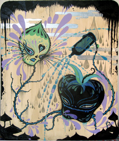 Camille Rose  Garcia -  <strong>Bad Apple</strong> (2008<strong style = 'color:#635a27'></strong>)<bR /> Acrylic, Silver Leaf and Glitter on paper,   Image size: 18 x 15 1/4 inches,   Framed size:  20 1/8 x 17 1/4  inches