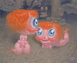 Dave  Cooper -  <strong>Balloon Heads</strong> (2005<strong style = 'color:#635a27'></strong>)<bR /> Oil on Canvas ,   27 x 22 inches