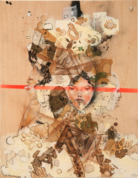 David  Choe -  <strong>Barn storm</strong> (<strong style = 'color:#635a27'></strong>)<bR /> Mixed media on wood,   14 x 10 3/4 inches