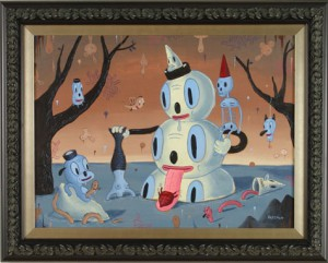 Gary  Baseman -  <strong>Dip</strong> (<strong style = 'color:#635a27'></strong>)<bR /> Acrylic on Wood ,   30 x 24 inches