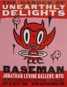 Gary  Baseman -  <strong>The Garden of Unearthly Delights Poster</strong> (2005<strong style = 'color:#635a27'></strong>)<bR /> Letter press poster,   21 1/2 x 15 1/2 inches