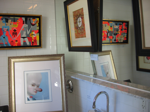Scope Fair -  <strong>the room</strong> (<strong style = 'color:#635a27'></strong>)<bR /> Artwork by Tim Biskup and Ray Caesar in the bathroom