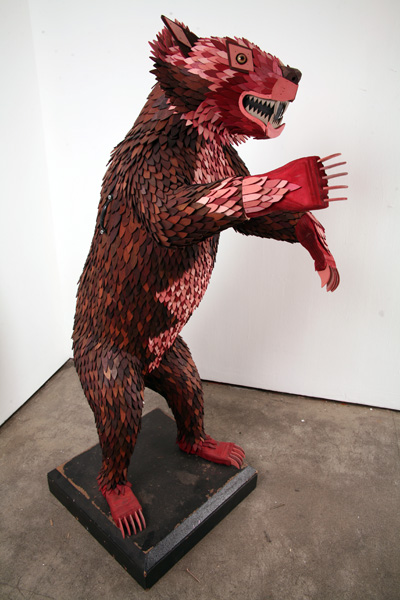 AJ  Fosik -  <strong>Bear Study Life Size (SIDE VIEW)</strong> (2006<strong style = 'color:#635a27'></strong>)<bR /> Mixed Media,   65 x 42 x 28 inches
