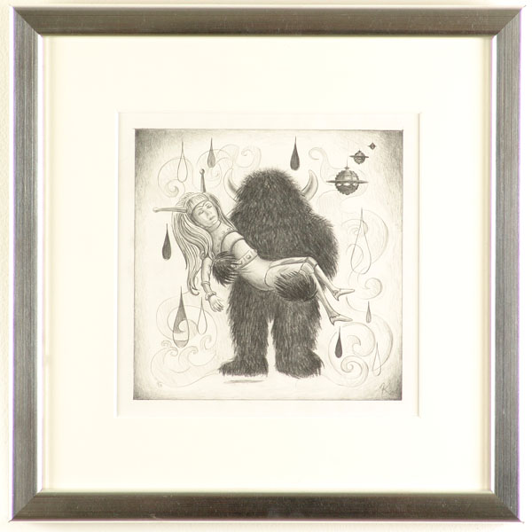 Kathy  Staico Schorr -  <strong>Bee Girl and Him</strong> (2004<strong style = 'color:#635a27'></strong>)<bR /> pencil on paper  9 x 9 in. (22.86 x 22.86 cm),   17 1/2  x 17 in. (44.45 x 43.18 cm) framed