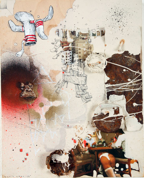 David  Choe -  <strong>Beige Socks</strong> (<strong style = 'color:#635a27'></strong>)<bR /> Mixed media on wood,   9 3/4 x 7 3/4 inches