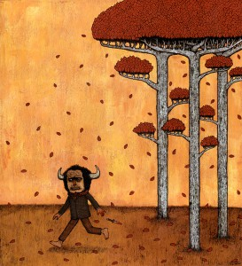 Andy  Kehoe -  <strong>Shameful Deed Falls Silently</strong> (2006<strong style = 'color:#635a27'></strong>)<bR /> <!--StartFragment -->,  <div>Acrylic and Griffin on Cradle Board</div> <div> </div> <div>20 x 18 inches</div> <div> </div> <div> </div> <div> </div> <div> </div>
