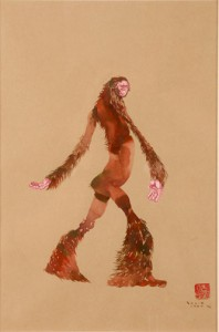 David  Choe -  <strong>Bighoof</strong> (<strong style = 'color:#635a27'></strong>)<bR /> Mixed media on paper,   Image size: 16 1/2 x 11 1/2 inches,   Framed size: 25 1/2 x 19 1/2 inches