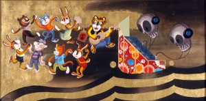 Andrew  Brandou -  <strong>Big Top Sessions</strong> (2006<strong style = 'color:#635a27'></strong>)<bR /> Acrylic and gold leaf on maple panel,   24 x 48 inches