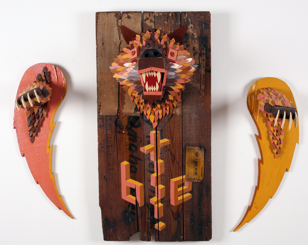 AJ  Fosik -  <strong>Bite the Earth</strong> (2006<strong style = 'color:#635a27'></strong>)<bR /> Mixed Media,   33 x 40 x 9 inches