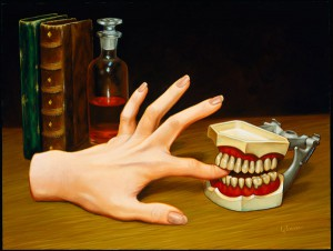Isabel  Samaras -  <strong>Redivivus (Bitten)</strong> (2006<strong style = 'color:#635a27'></strong>)<bR /> Oil on Wood,   Image size: 9 x 12 inches,   Framed size: 13 x 16 inches