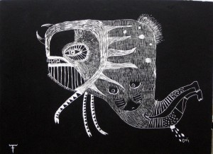 Fefê   -  <strong>Drawing on Wood</strong> (<strong style = 'color:#635a27'></strong>)<bR /> Mixed Media on Scratchboard,   25 1/2 x 19 3/4 inches