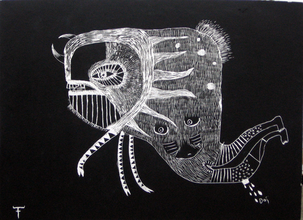 Fefê  &nbsp -  <strong>Drawing on Wood</strong> (<strong style = 'color:#635a27'></strong>)<bR /> Mixed Media on Scratchboard,   25 1/2 x 19 3/4 inches