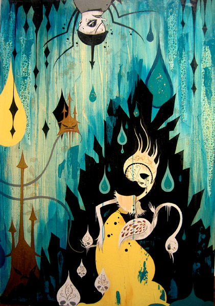 Camille Rose  Garcia -  <strong>Black Onyx Hijack</strong> (2006<strong style = 'color:#635a27'></strong>)<bR /> Acrylic, glitter, and gold mica on wood,   36 x 24 inches