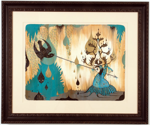 Camille Rose  Garcia -  <strong>Black Falcon Attack</strong> (2006<strong style = 'color:#635a27'></strong>)<bR /> Acrylic and gold mica on paper,   Image size: 23 x 30 inches,   Framed size: 37 x 43 inches