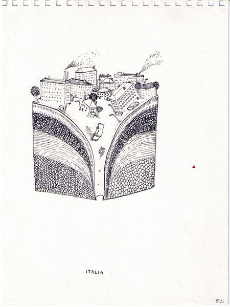 "Blu  &nbsp -  <strong>Page 1</strong> (2007<strong style = 'color:#635a27'></strong>)<bR /> <font size=""2"">China Ink on Paper</font>,   Image Size: 9 x 7 inches,   Framed Size: 12 x 9 inches"