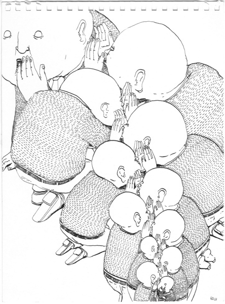 "Blu  &nbsp -  <strong>Page 8</strong> (2007<strong style = 'color:#635a27'></strong>)<bR /> <font size=""2"">China Ink on Paper</font>,   Image Size: 9 x 7 inches,   Framed Size: 12 x 9 inches"