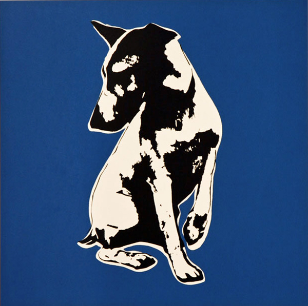 Blek le Rat  &nbsp -  <strong>His Master's Voiceless (blue) - print</strong> (2008<strong style = 'color:#635a27'></strong>)<bR /> 4 colour screenprint including varnish on Somerset Sation 300gsm,   Edition of 100,   Image size: 21 x 21 inches,   Paper size: 29 x 29 inches