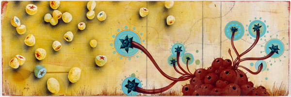 Jeff  Soto -  <strong>Blue Flower Cluster</strong> (2004<strong style = 'color:#635a27'></strong>)<bR /> Acrylic on Wood  12 x 36 inches