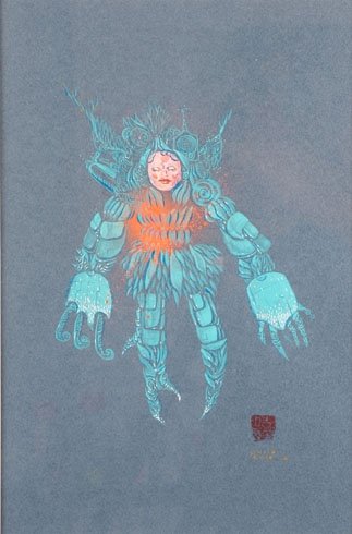 David  Choe -  <strong>Pornobot</strong> (<strong style = 'color:#635a27'></strong>)<bR /> Mixed media on paper,   Image size: 16 1/2 x  11 1/2 inches,   Framed size: 25 x 19 1/4 inches