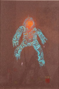 David  Choe -  <strong>Kleptocon</strong> (<strong style = 'color:#635a27'></strong>)<bR /> Mixed media on paper,   Image size: 16 1/2 x 11 1/2 inches,   Framed size: 25 x 19 1/4 inches